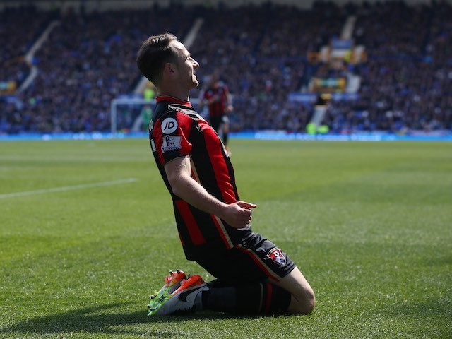 Marc Pugh celebrates scoring during the Premier League game between Everton and Bournemouth on April 30, 2016