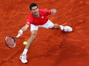Novak Djokovic in action during the Madrid Open final on May 8, 2016