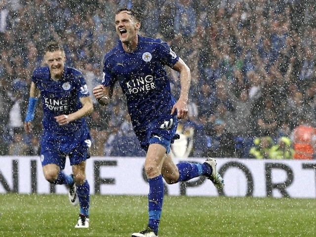 Andy King celebrates after scoring for Leicester City against Everton on May 7, 2016