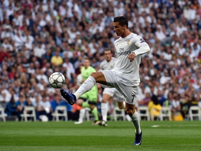 Real Madrid striker Cristiano Ronaldo in action during the Champions League semi-final second leg against Manchester City on May 4, 2016
