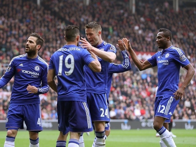 Diego Costa celebrates scoring the first goal during the Premier League match between Sunderland and Chelsea on May 7, 2016