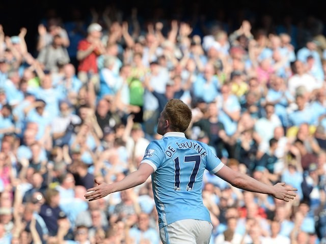 Towering beauty Kevin de Bruyne scores a second during the Premier League game between Manchester City and Arsenal on May 8, 2016