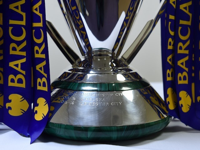 Leicester City's name is engraved on the Premier League trophy on May 7, 2016