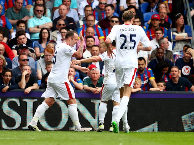 Charlie Adam celebrates scoring during the Premier League game between Crystal Palace and Stoke City on May 7, 2016