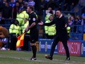 Sheffield Wednesday manager Carlos Carvalhal argues against a disallowed goal in the Championship playoff semi-finals on May 13, 2016