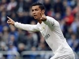 Cristiano Ronaldo celebrates scoring his first during the La Liga game between Deportivo La Coruna and Real Madrid on May 14, 2016