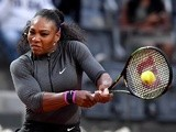 Serena Williams returns the ball to Anna-Lena Friedsam of Germany during the WTA Tennis Open tournament at the Foro Italico on May 10, 2016 in Rome