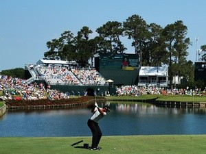 Jason Day of Australia plays his shot from the 17th tee during the first round of the Players Championship on May 12, 2016