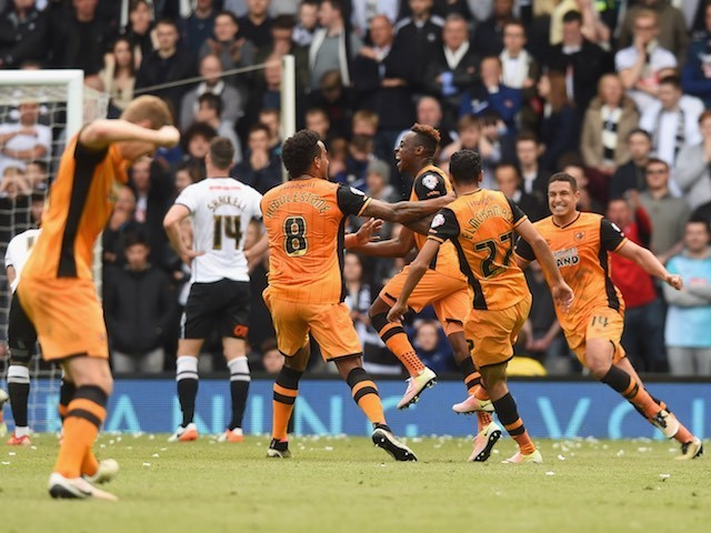 Hull City players celebrate a goal during the Championship playoff semi-final between Derby County and Hull City on May 14, 2016