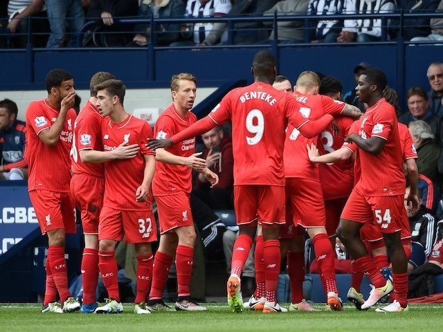 Liverpool players celebrate scoring during the Premier League game between West Bromwich Albion and Liverpool on May 15, 2016