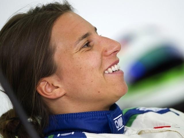 Simona de Silvestro smiles during private test at the Ricardo Tormo racetrack in Valencia on June 26, 2014