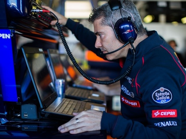 Max Verstappen's race engineer Xevi Pujolar of Scuderia Toro Rosso during qualifying for the Australian Formula One Grand Prix on March 14, 2015