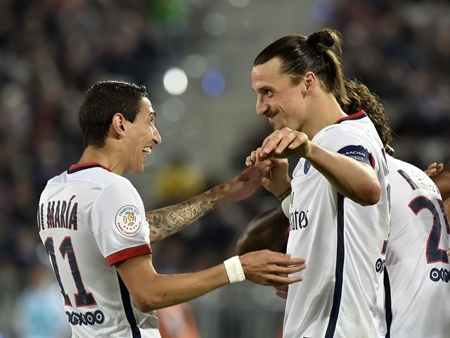 Paris Saint-Germain's Zlatan Ibrahimovic celebrates scoring his 300th club goal during the Ligue 1 match against Bordeaux on May 11, 2016