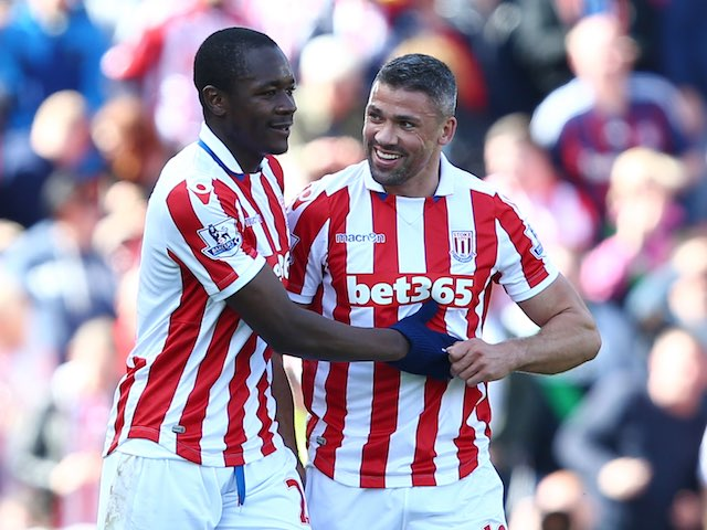 Giannelli Imbula celebrates during the Premier League game between Stoke City and West Ham United on May 15, 2016