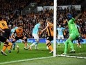 Johnny Russell of Derby County scores the opening goal during the Championship play-off semi-final second leg match against Hull City on May 17, 2016