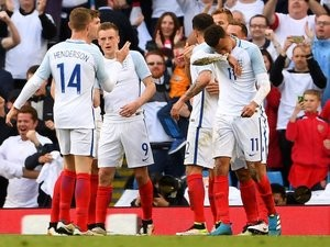 Jamie Vardy celebrates scoring the second during the international friendly between England and Turkey on May 22, 2016