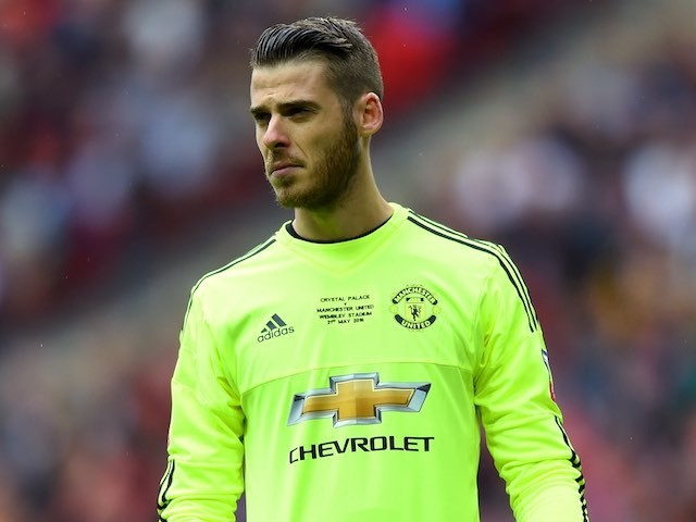 David De Gea looks on during the FA Cup final between Crystal Palace and Manchester United on May 21, 2016