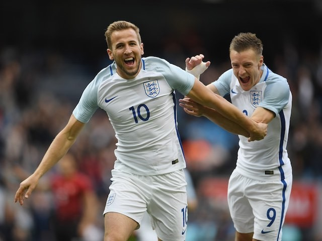 Harry Kane celebrates scoring with Jamie Vardy during the international friendly between England and Turkey on May 22, 2016
