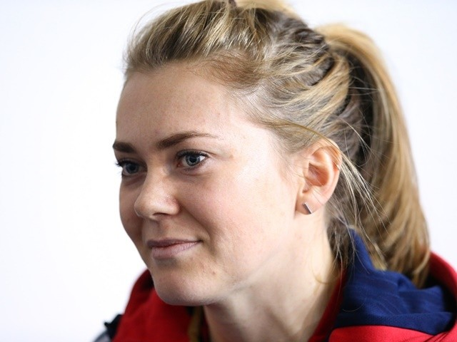 Jess Varnish of the Great Britain Cycling Team faces the media at the Manchester Velodrome during a Team GB Cycling media day on February 25, 2016