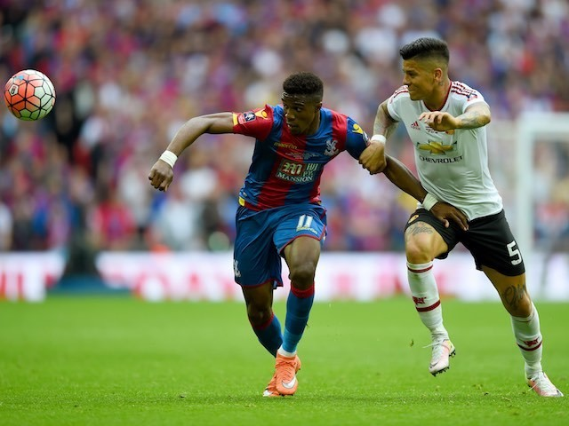 Marcos Rojo and Wilfried Zaha in action during the FA Cup final between Crystal Palace and Manchester United on May 21, 2016