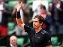 Andy Murray celebrates victory over Radek Stepanek on day three of the French Open at Roland Garros on May 24, 2016