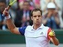Richard Gasquet reacts after beating Bjorn Fratangelo at the French Open in Paris on May 25, 2016