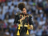 Alicia 'I like blokes, honest' Keys in action during the Champions League final between Real Madrid and Atletico Madrid on May 28, 2016