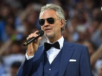 Andrea Bocelli watches on during the Champions League final between Real Madrid and Atletico Madrid on May 28, 2016