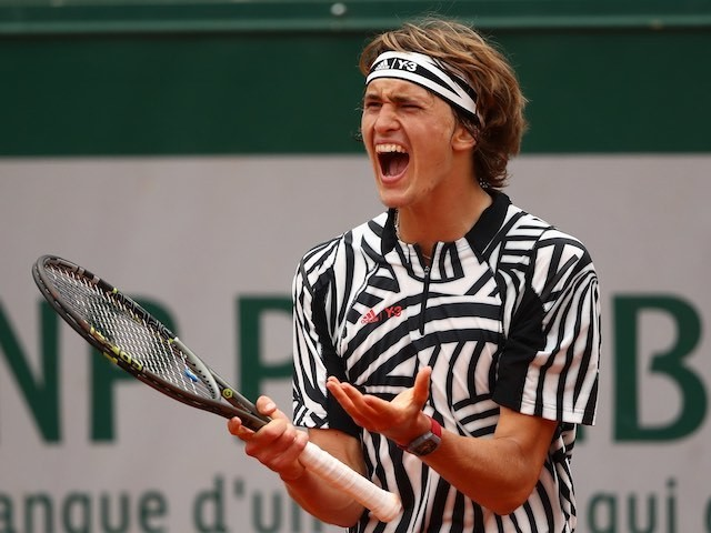 Alexander Zverev reacts during the French Open on May 28, 2016