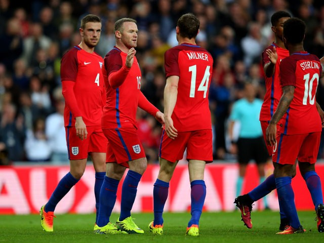 England players celebrate Wayne Rooney's goal during their 2-1 Euro 2016 warm-up win over Australia at the Stadium on Light on May 27, 2016