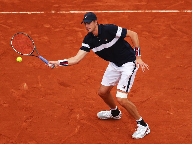 John Isner in action during his fourth round meeting with Andy Murray at the French Open on May 29, 2016