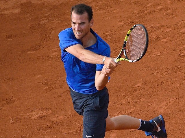 Adrian Mannarino in action at the French Open on May 25, 2016