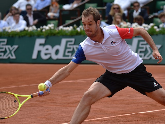 Richard Gasquet in action at the French Open on May 27, 2016