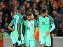 Eder celebrates Portugal's third goal against Norway with teammates during the international friendly on May 29, 2016