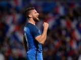 Olivier Giroud of France celebrates his team's second goal during the International Friendly between France and Scotland on June 4, 2016 in Metz, France