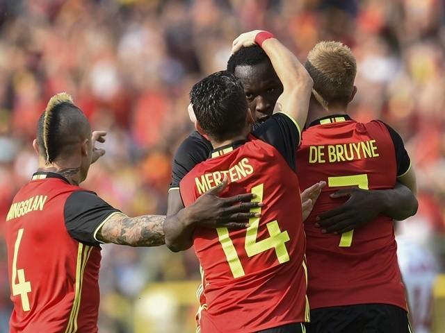 Romelu Lukaku celebrates after scoring during the friendly between Belgium and Norway on June 5, 2016