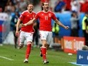 Gareth Bale celebrates scoring Wales's first goal against Slovakia at Euro 2016 on June 11, 2016