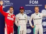 Lewis Hamilton, Nico Rosberg and Sebastian Vettel after qualifying for the Canadian Formula 1 Grand Prix on June 11, 2016