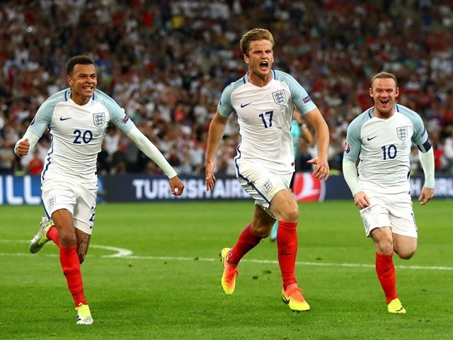 Eric Dier celebrates scoring during the Euro 2016 Group B game between England and Russia on June 11, 2016