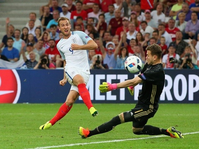 Harry Kane shoots on goal during the Euro 2016 Group B game between England and Russia on June 11, 2016