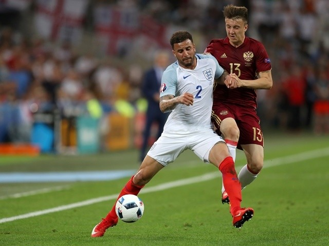 Kyle Walker and Aleksandr Golovkin in action during the Euro 2016 Group B game between England and Russia on June 11, 2016