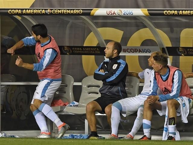 Uruguay's Luis Suarez reacts during the Copa America match against Venezuela on June 9, 2016