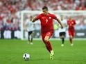 Robert Lewandowski of Poland runs with the ball during the Euro 2016 Group C match against Germany on June 16, 2016