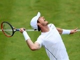Andy Murray serves during his second-round match against Aljaz Bedene on day four of the Aegon Championships on June 16, 2016