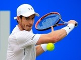Andy Murray hits a backhand during his semi-final match against Marin Cilic at Queen's on June 18, 2016