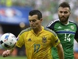 Stuart Dallas and Artem Fedetskiy during the Euro 2016 Group C match between Ukraine and Northern Ireland on July 16, 2016