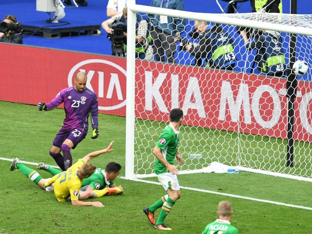 Ireland's defender Ciaran Clark (bottom R) lies on the ground after scoring an own goal beside Sweden's midfielder Sebastian Larsson (bottom L) and Ireland's goalkeeper Darren Randolph (L) during the Euro 2016 Group E football match between Ireland and Sw