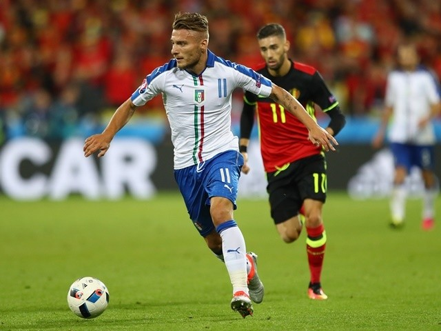 Ciro Immobile in action during the Euro 2016 Group E game between Belgium and Italy on June 13, 2016