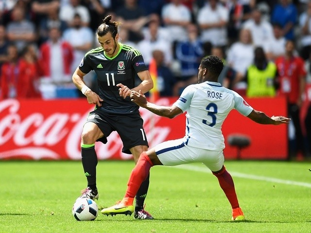 Gareth Bale and Danny Rose in action during the Euro 2016 Group B game between England and Wales on June 16, 2016