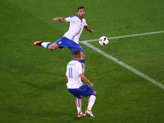 Graziano Pelle scores his team's second goal during the Euro 2016 Group E game between Belgium and Italy on June 13, 2016
